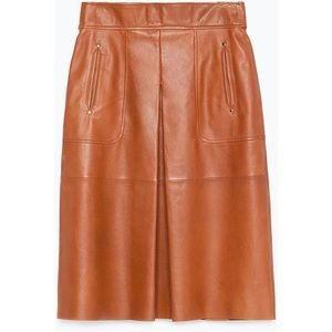 Brown Zara Genuine Leather Skirt - NWT